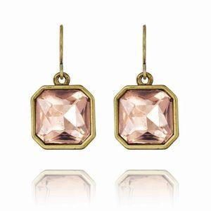 Retro Glam SquareCut Blush Crystal Earrings E182PI